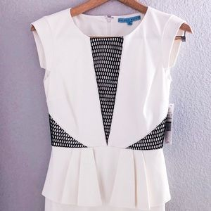 White and black statement dress